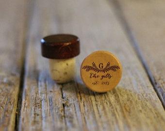 Single Personalized Custom Wine Stopper, Laser Engraved Cork Bottle Topper, Customized Rustic Wedding Favor, Reusable --WS-L-Gills