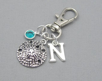 Personalized sand dollar purse charm, zipper charm, silver initial, crystal birthstone, gift for her, bag charm, nautical keychain
