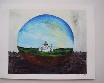 Castle in Sphere - 8.5x11 giclee print on 110lb acid free paper by D. Grindle