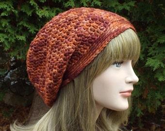 Merino Wool Hat, Rust Orange Slouchy Beanie, Slouchy Hat, Womens Crochet Hat, Oversized Slouchy Beanie, Hipster Hat, Slouch Hat Baggy Beanie