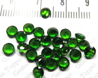 Chrome Diopside Faceted Round 4mm Calibrated Size Gemstone - Green Color Natural Loose Gemstone - Chrome Diopside Faceted Cut - FOR ONE