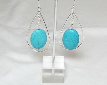 Boucles d'oreilles ovale turquoise - Boucles d'oreilles argentées et Turquoise - Turquoise Dangle boucles d'oreilles déclaration boucles d'oreilles - Boucles d'oreilles ovales Turquoise