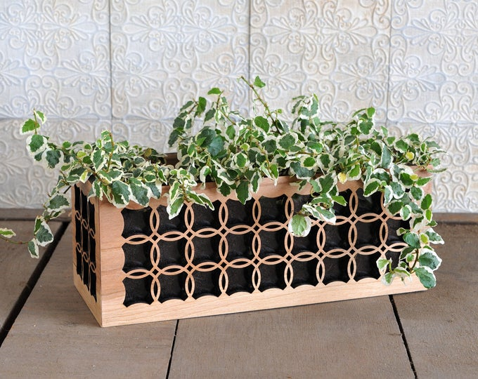 Indoor Floral Box Planter made from cherry wood, acrylic liner included ~ for plants, succulents, or herbs, Circle Pattern