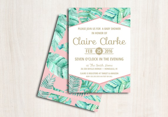 Pink Palm Shower Invitation - Tropical Palm Shower Party  - Printable Party Supplies