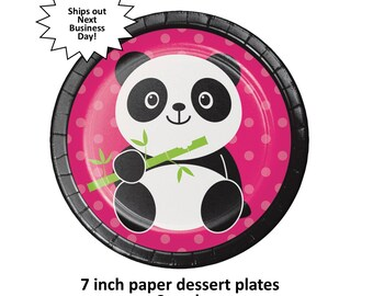 panda party cake plates, pandamonium, cute panda bear, hot pink and green, girls birthday ideas, toddlers, childrens, pandas, bears