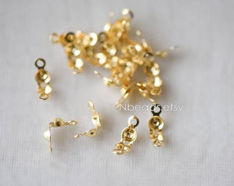 50pcs  Clamshell Bead Tips 3.5x6mm, Gold plated Brass Cord Ends, Lead Nickel Free (GB-134-2)