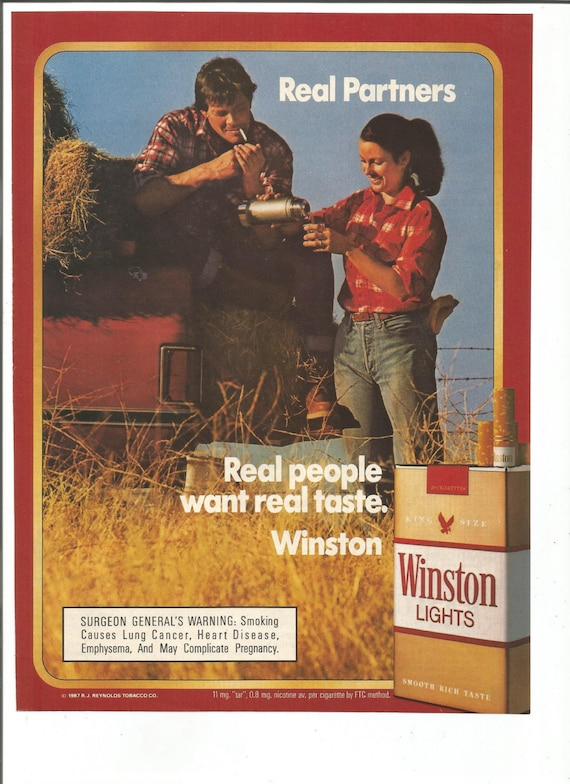 1987 Advertisement Winston Cigarettes 80s Couple Real Partners