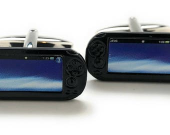 Handheld Video Game Cufflinks Black Video Gamer Cuff Links Retro Fun Nerdy Cool Unique Comes with Gift Box