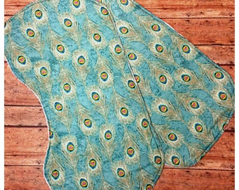 Peacock feather themed contoured burp cloth, Set of burp clothes, Baby girl burpies, Absorbent burp cloths,  Babyshower gift idea