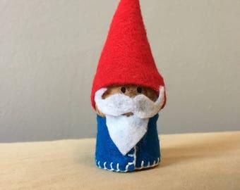 Classic Woodland Gnome Doll- handmade, felt on cork.