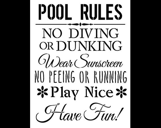 Featured listing image: Pool Rules - Word Stencil - Select Size  - STCL1214 by StudioR12