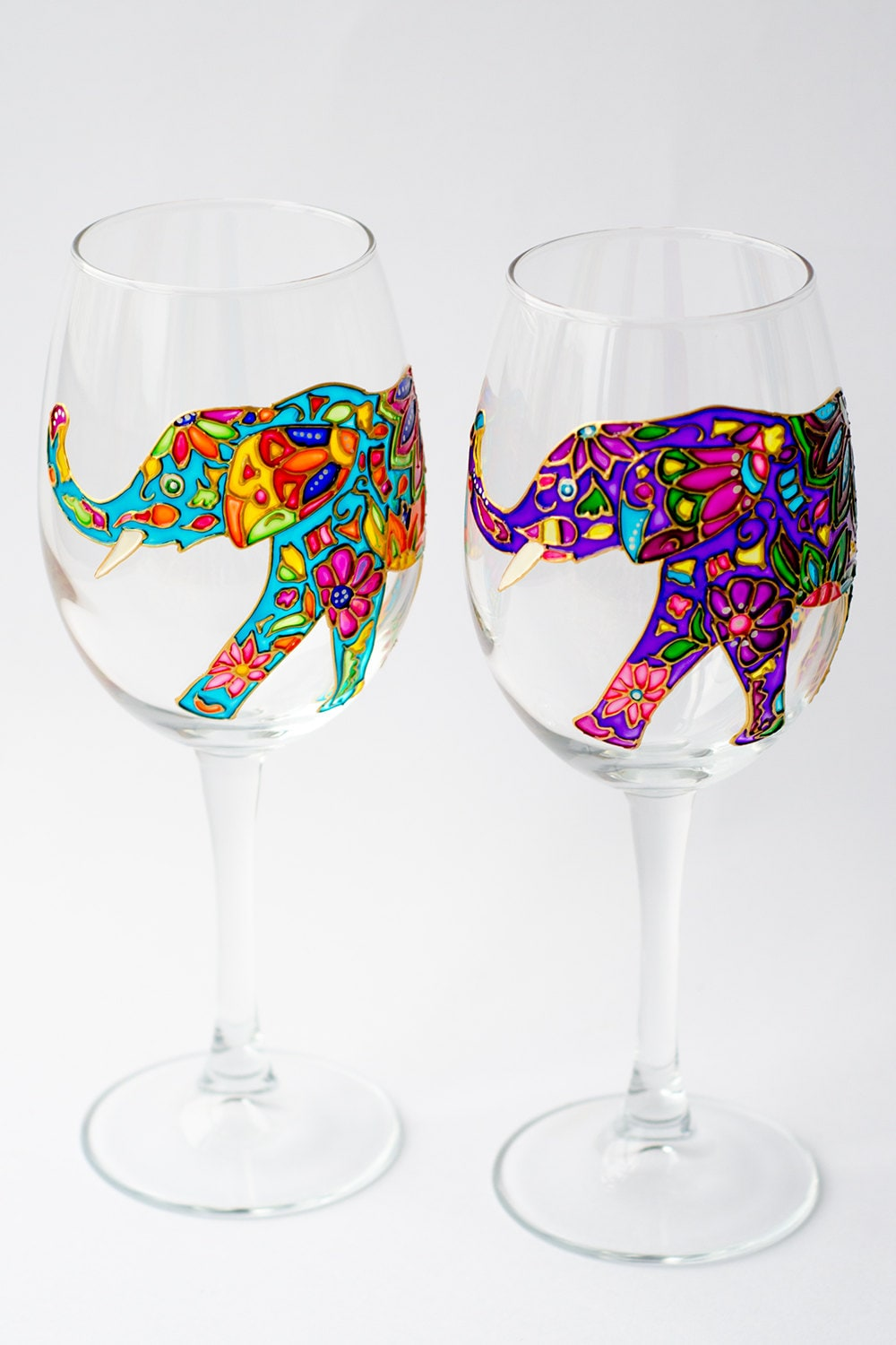 elephant wine glasses hand painted wine glass for bridesmaid