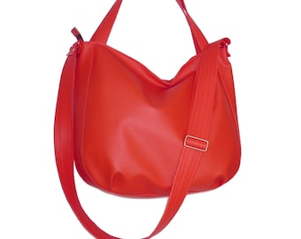 red bag, red hobo bag, red crossbody bag, red purse, red faux leather bag, red leather bag, red vegan bag, red vegan crossbody bag, red tote