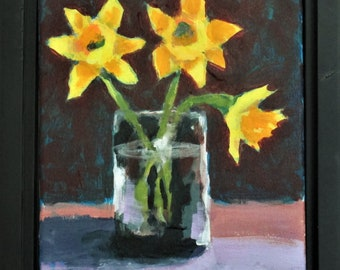 """Daffodil Trio, Original Still Life Painting,  8"""" x 10"""" on Canvas, Free Shipping within USA"""