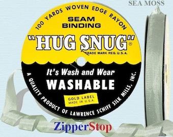 "SEA MOSS 609 - Hug Snug Seam Binding - 100 yard roll 1/2"" Wide - 100% Woven-Edge Rayon - Sewing Trim & Craft Supply"