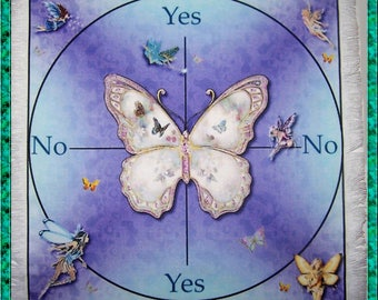 Butterfly & Fairies Scrying Mat, Dowsing wiccan Magic Divination, fairy gift