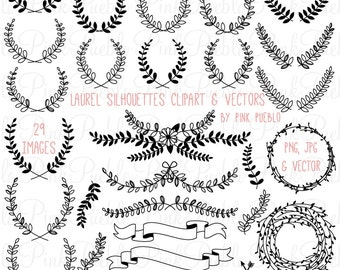 Laurel Silhouettes Clipart Clip Art, Laurel Wreath Leaf Clip Art Clipart Vectors - Commercial and Personal Use