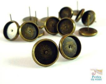 10 pairs nickel free, 10mm cabochon earrings, bronze (BO18)