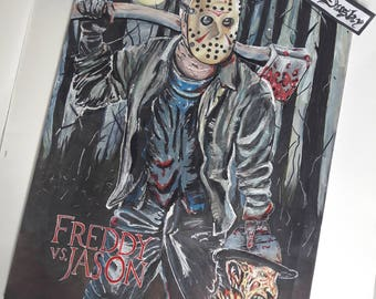 Horror movie print - Friday the 13h : Freddy vs Jason round 1 -  size 29x42