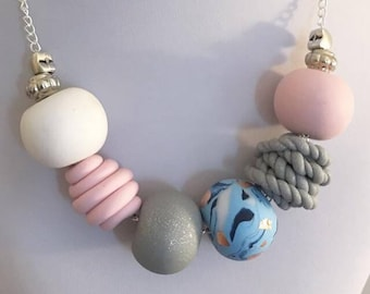 Pastel polymer beaded necklace