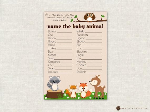 Name The Baby Animal Baby Shower Game Woodland Animal Theme