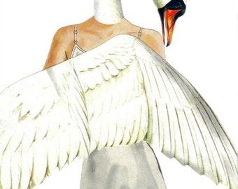 Original Art Collage, White Swan Artwork, Fantasy Illustration, Fairy Tale Wall Art