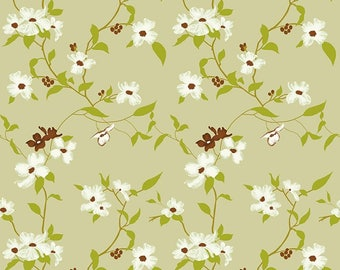 Light Olive Green Cotton Fabric, Floral Print, Craft Georgette Viscose Fabric, Sewing Decor, Fabric By The Yard, MIN-FL2L