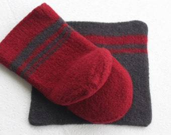 Red Wool Oven Mitt Set, Wool Hot Pad Oven Mitt, Wool Oven Glove, Wool Felt Oven Mitt Set, Red Gray Oven Mitt, Knit Felt Oven Set, Hostess