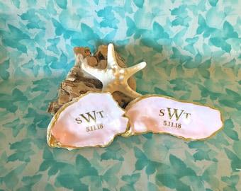 Shell Wedding Ring Holder, Monogram Ring Holder, Monogram Wedding Ring Box, Coastal Wedding, Beach Wedding Ring Holder