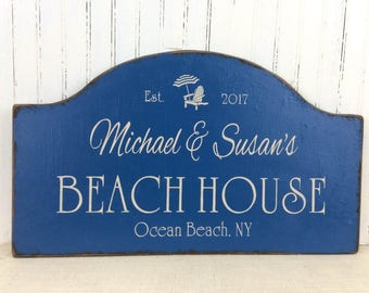BEACH HOUSE sign, Jersey shore sign, personalized sign, lake house decor, river home plaque, realtor housewarming gift, beach cottage sign