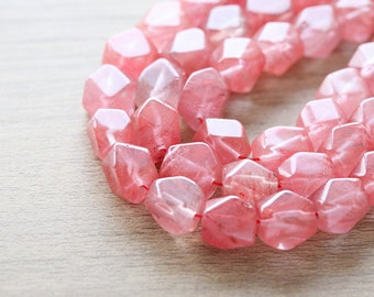 10 pcs of Rectangle Faceted Natural Gemstone Beads  - Pink - 10mm x 12mm