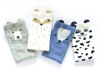 Unisex Baby Girls Socks, 4 Pairs Toddler Boy Animal Knee High Socks / 4 socks in a pack