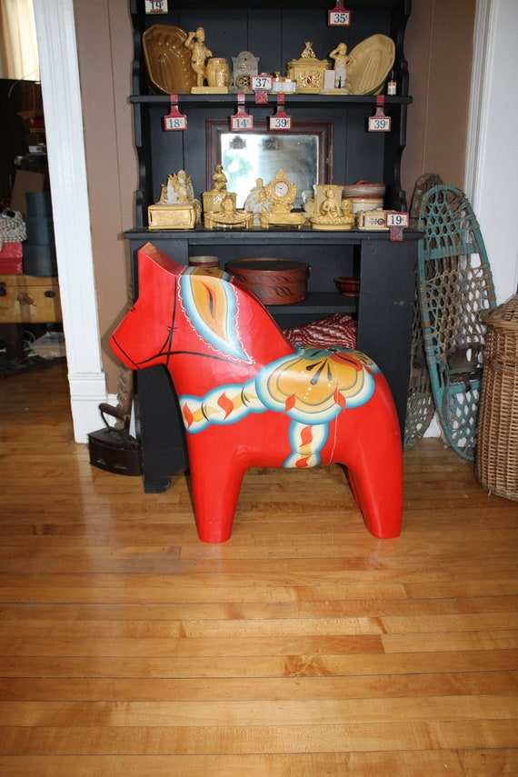 """Large 29"""" Swedish Dala Horse Hand Carved and Painted by Gary Paulsen"""
