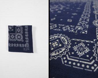 Vintage Indigo Blue Bandana Fast Color Distressed Faded Handkerchief
