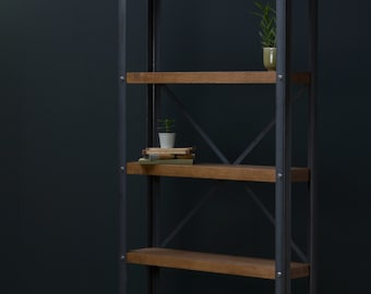 KONK! 'Simple' Industrial Bookcase [200mm deep] - Industrial/Rustic, Oak/Steel - BOOKCASE [Bespoke sizes available!]
