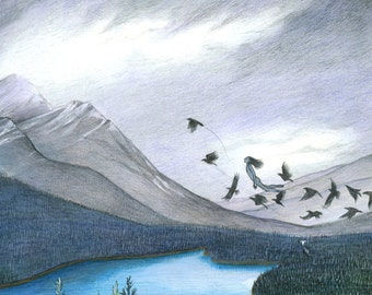 """8x10 Print of """"Flight"""" girl in mountains"""
