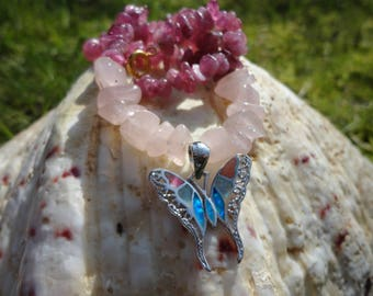 Necklace butterfly, rose quartz, pink tourmaline, Opal pendant of fire and Silver 925