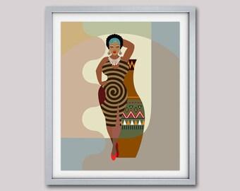 Black Woman, Black Queen, Natural Hair Art,  Black Girls Rock, Black Girls Magic, Afro Art, Black Girls Art, African American, Thick Woman