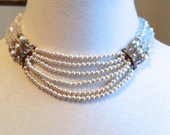 Art Deco Pearl and Rhinestone Choker end of summer  SALE