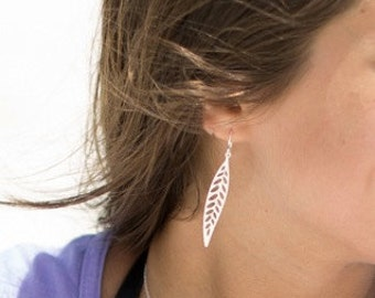 Long Leaf Earrings on Sterling Silver Ear Hooks - Dangle Earrings - Perfect Gift - Bridesmaid Gift - Everyday Jewelry - The Lovely Raindrop