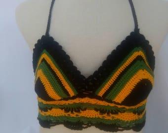 Jamaican Style Bikini Top, Crochet Bikini Top, Crochet Swimwear, Crochet Jamaican Bikini Top, Cotton Bikini Top