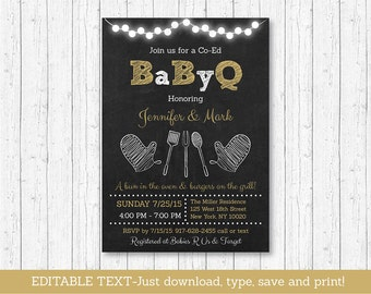 BBQ Baby Shower Invitation / BaByQ Baby Shower Invitation / Chalkboard Invitation / Coed Baby Shower / INSTANT DOWNLOAD Editable Text A275