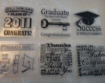 """Free Shipping!  Graduation, Thanks, Congrats Acrylic Stamps - 6 Stamps - Appear New - 2.5"""" x 2.5"""" - Card Making - Stamping-Scrapbook-CC2-ML2"""
