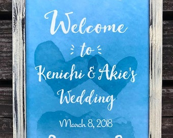 Custom Printable Watercolor Wedding Sign - A4, Hearts, Blue