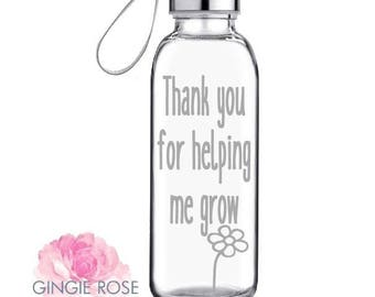 Teacher Appreciation Glass Water Bottle/Teacher Appreciation Gift/Personalized Bottle/Etched Bottle/Custom Bottle