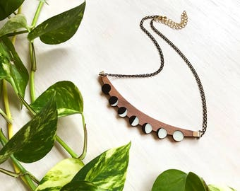 Crescent Moon Necklace, Phases of the Moon, Laser Cut Necklace, Modern Statement Necklace, Lunar Moon, Modern Space, Black Bib Necklace