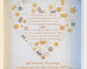 Golden wedding Anniversary heart