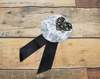 Birthday Girl Rosette Woodland Animal Print Black White Gold Glitter Print