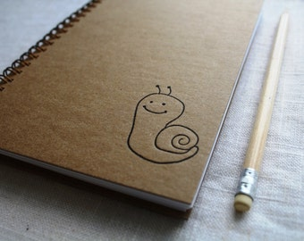 HARD COVER - Snail - Letter pressed 5.25 x 7.25 inch journal