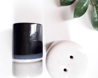 French vintage 70s enamelled stoneware salt shaker set